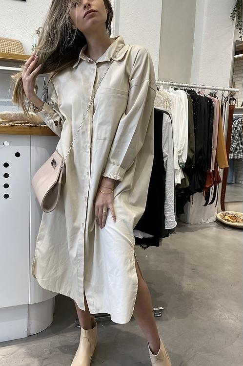 מכופתרת שמלה (בז׳)