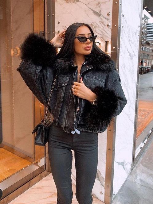 מעיל ג׳ינס פרווה שחור