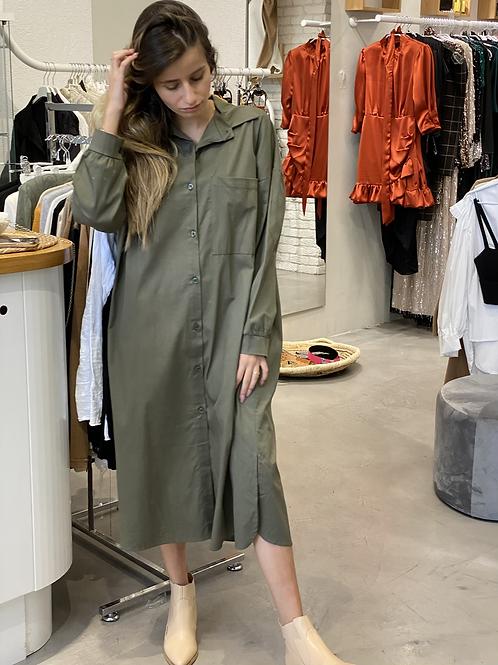 מכופתרת שמלה (ירוק זית)