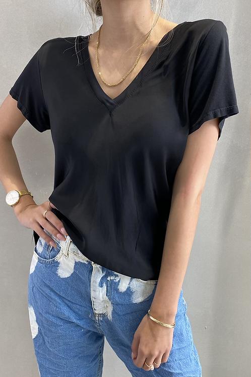 חולצת וי משי/כותנה