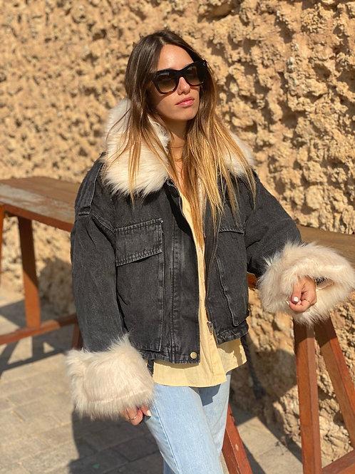 מעיל ג׳ינס פרווה