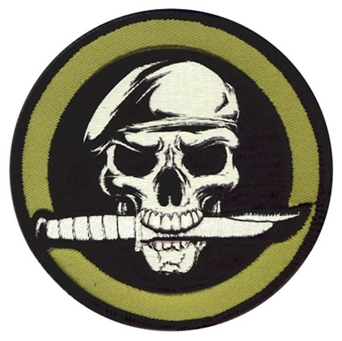 Military Skull & Knife-Green