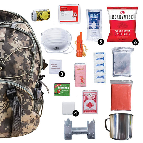 64 Piece Camo Survival Backpack