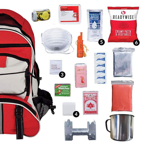 64 Piece Red Survival Backpack