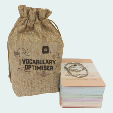 11+ Vocabulary Optimiser Flash Cards with descriptive writing support for parent
