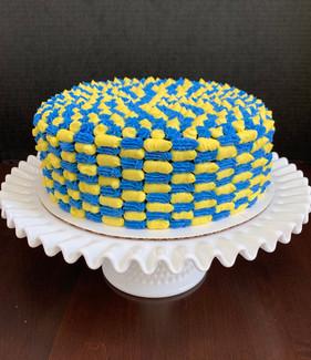 Colored buttercream checker cake