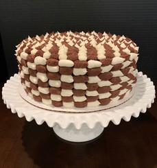 Vanilla and chocolate buttercream checker cake