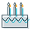 blue birthday cake with candles icon