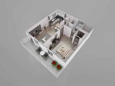 1-Bedroom Floorplan
