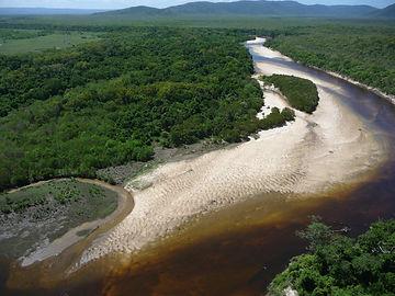 Flying down the Nesbit River towards the ocean
