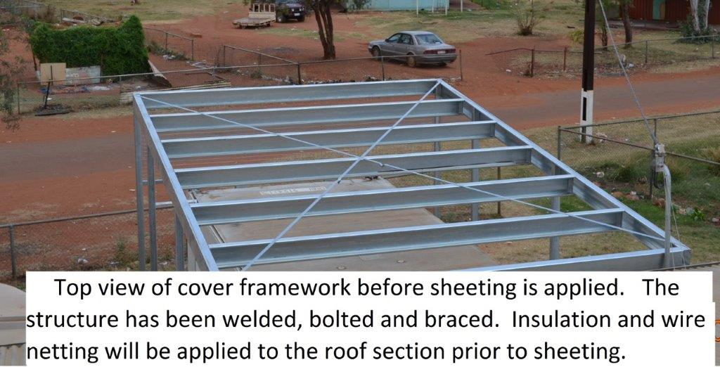 8 building cover for exposed refrigiration container roof area before sheeting