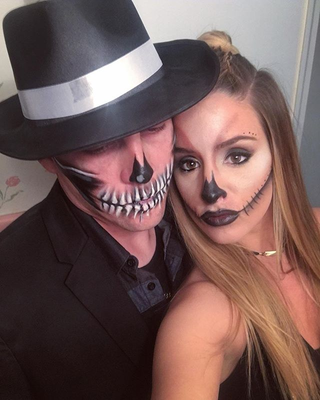 some badass makeup for these two 💀 #makeupbyvic #skullmakeup #halloweenmakeup