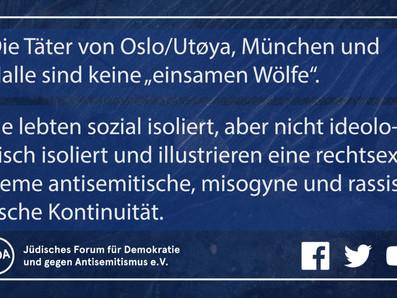 """Das Lachen der """"einsamen Wölfe"""": Rechtsterroristische Täter, Antisemitismus, Weiblichkeitsabwehr"""