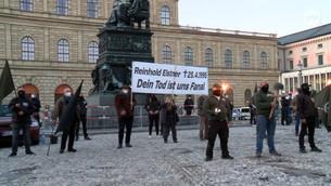 München, 25. April 2021: Neonazis gedenken des Geschichtsrevisionisten Reinhold Elstner