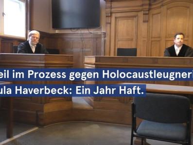 Urteil im Prozess gegen Holocaustleugnerin Ursula Haverbeck: 1 Jahr Haft