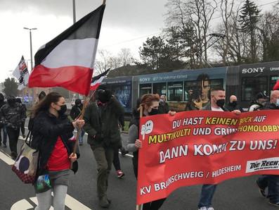 Neonazistische Kleinstpartei marschiert mit antisemitischen Parolen durch Braunschweig, 27.03.2021