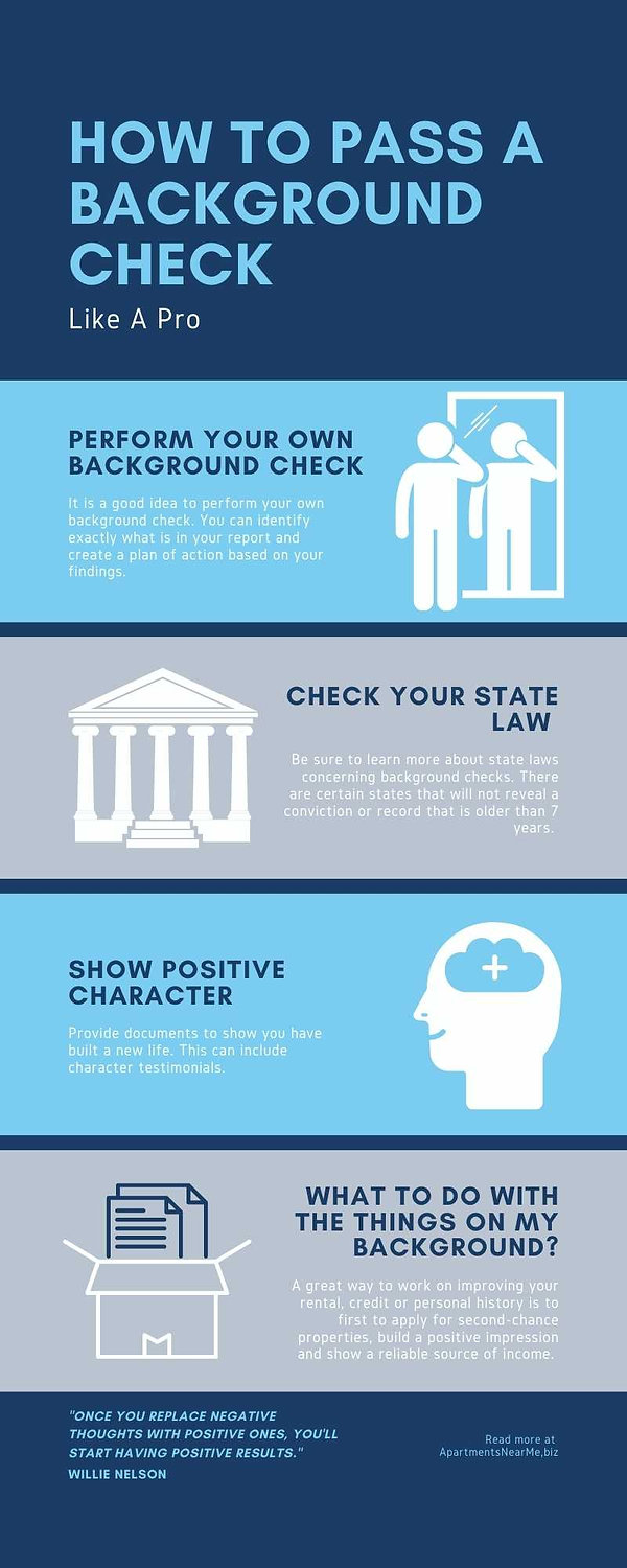 How to pass rental and apartment background check infographics. Do your own background check on yourself to know what's on there. Check the state law regarding what can be counted in the background. Be positive even if you have negative points on your background. Be transparent about negative records and try to bring supportive documents.