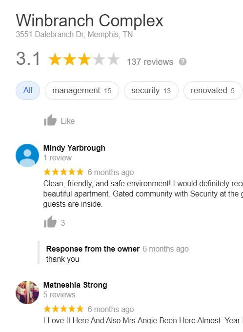 Tenant Reviews on Apartments for Rent
