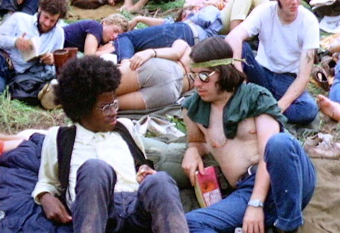 1960年代のウッドストックのヒッピーたち