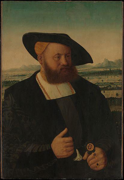 シグネットリングを身に着ける中世の貴族