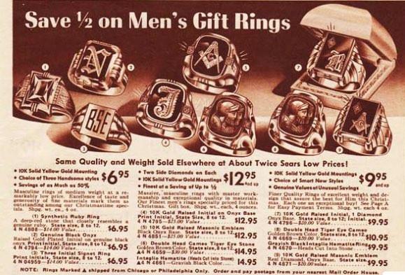 1950年代のシグネットリングの広告