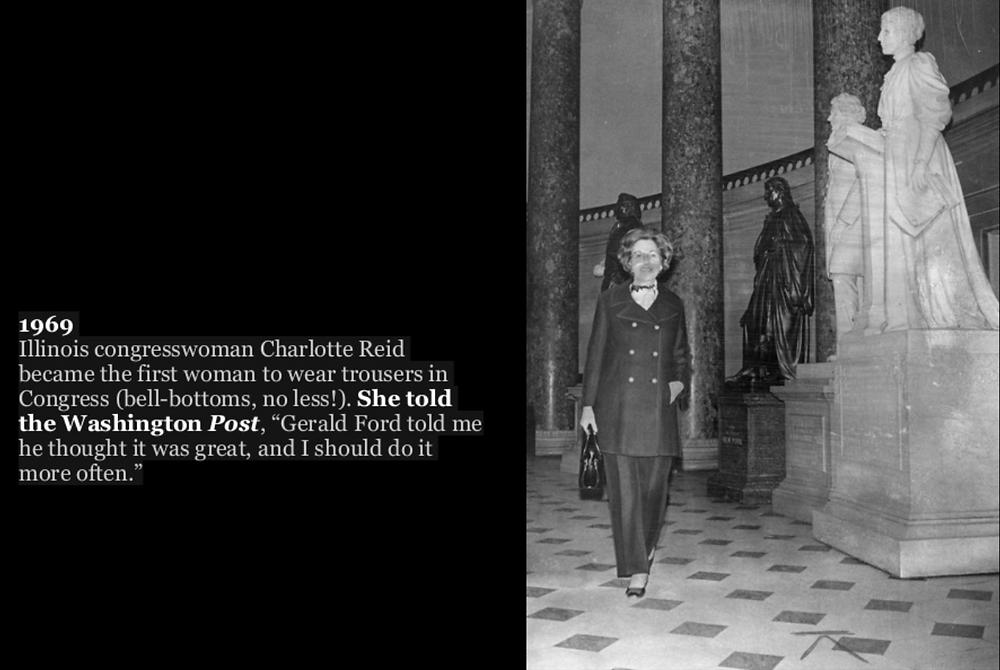 女性初のパンツスタイル、シャーロット・リード