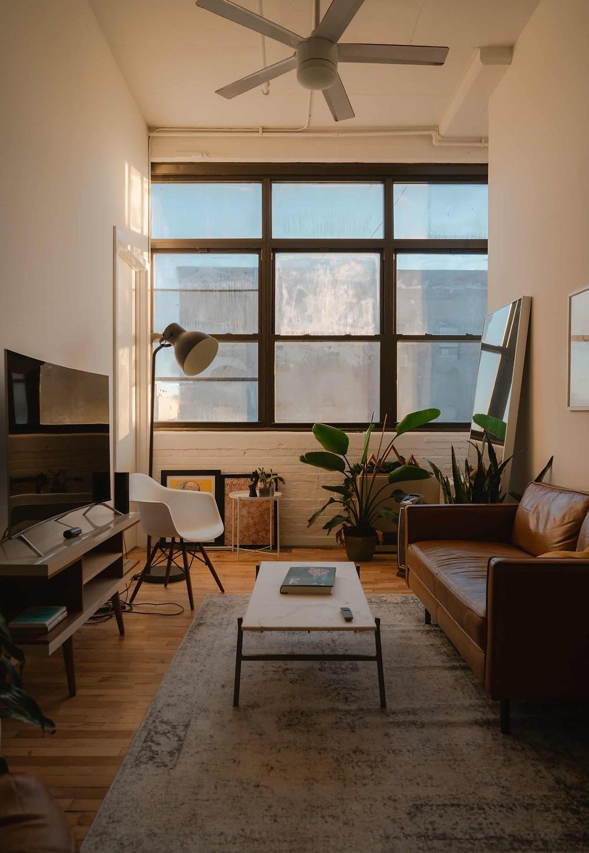 天井が高いブルックリンの部屋