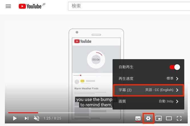 Google広告のyoutube動画の字幕設定