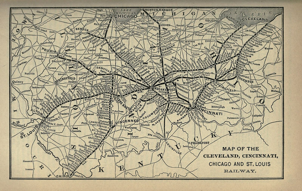 Cleveland, Cincinnati, Chicago and St. Louis Railwayの路線図