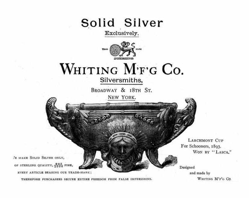 Whiting Manufacturing Coの当時の広告の写真。シンプルな中にも彼らの溢れるセンスが垣間見れます。