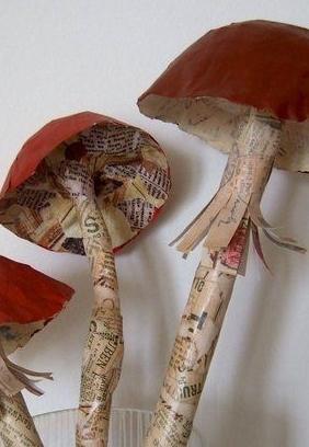 Des champignons en papier