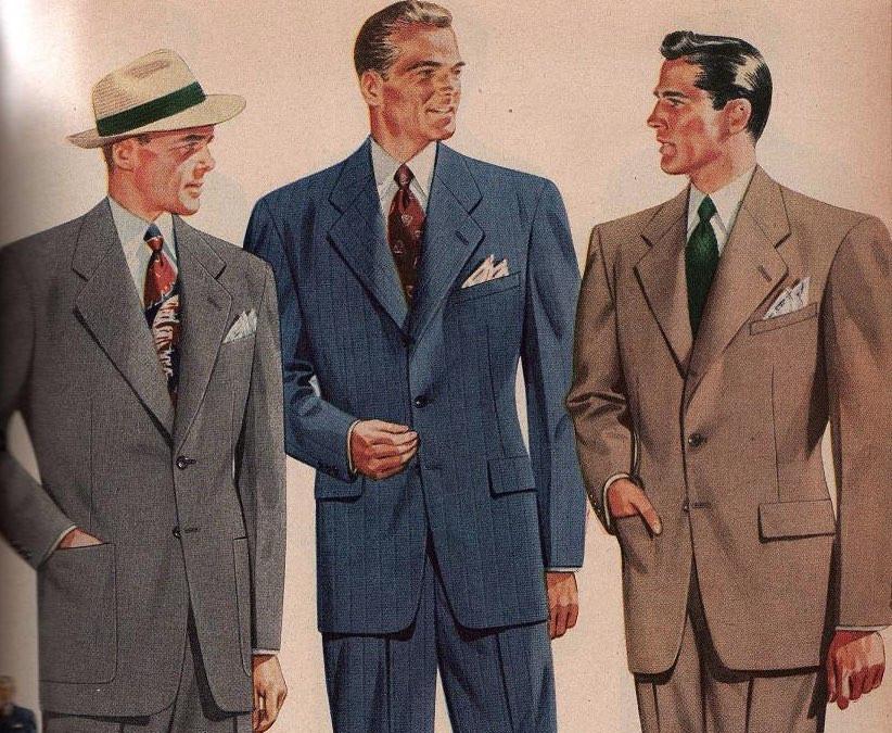 清潔感をアピールするのに最適だったのが白いハンカチーフ。スーツの色やネクタイに合わせて様々な模様のハンカチーフが着用されていた