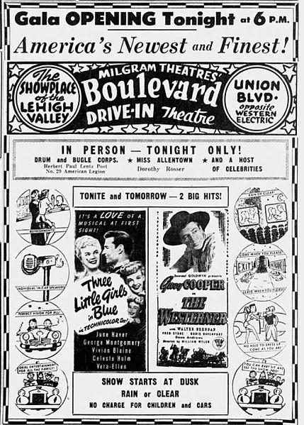 1949年のドライブインシアターの広告