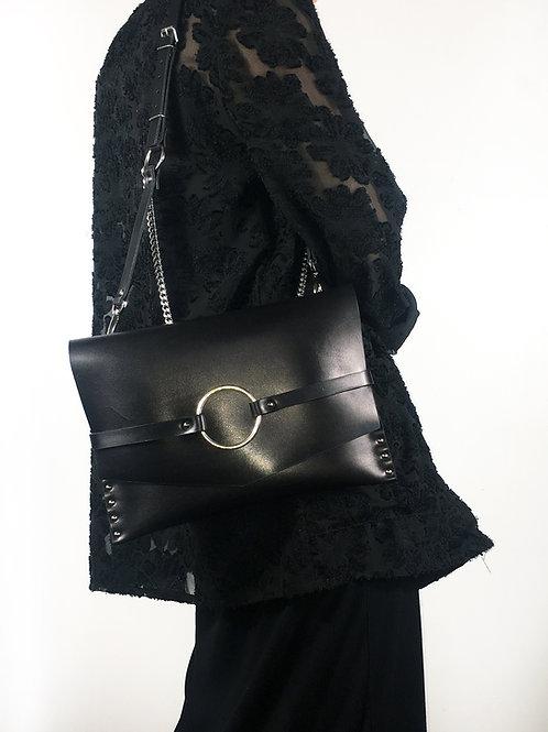 JOAN Harness clutch - Leather + chain strap