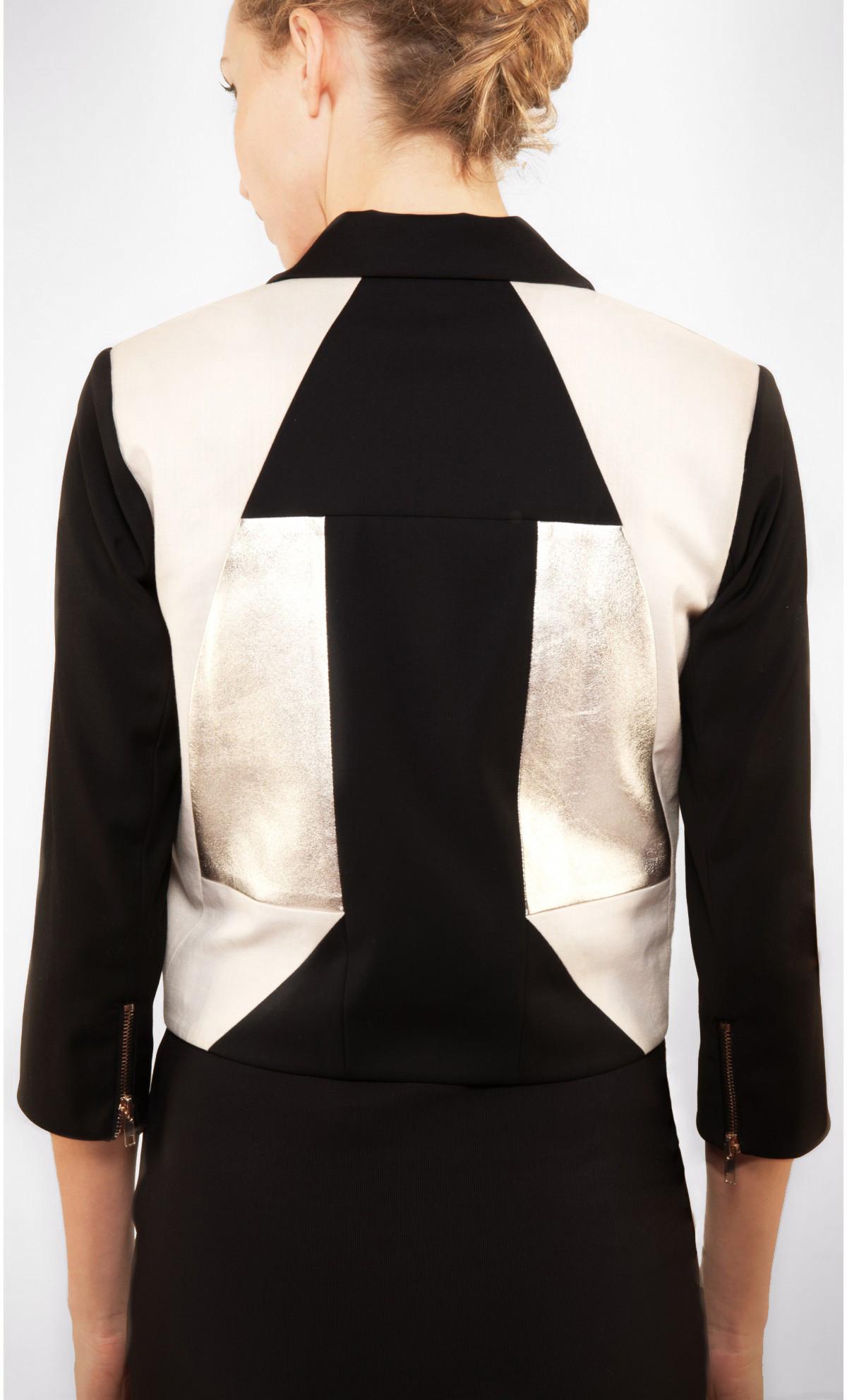 Perfecto cuir et draperie tailleur