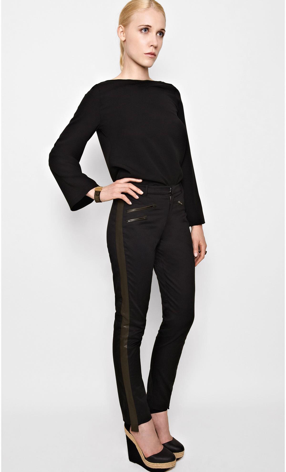 Pantalon bicolore cuir et coton