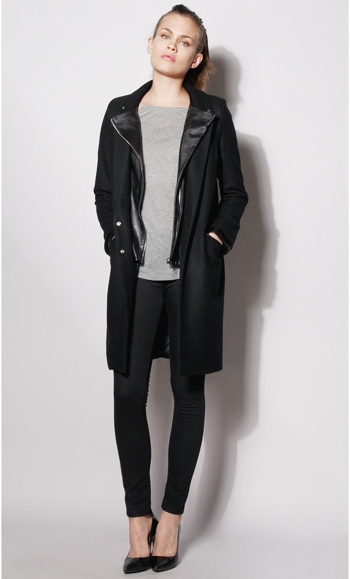 Manteau femme long laine et cuir