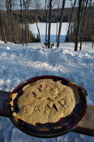 Home made blackberry pie fresh out of the camp oven.