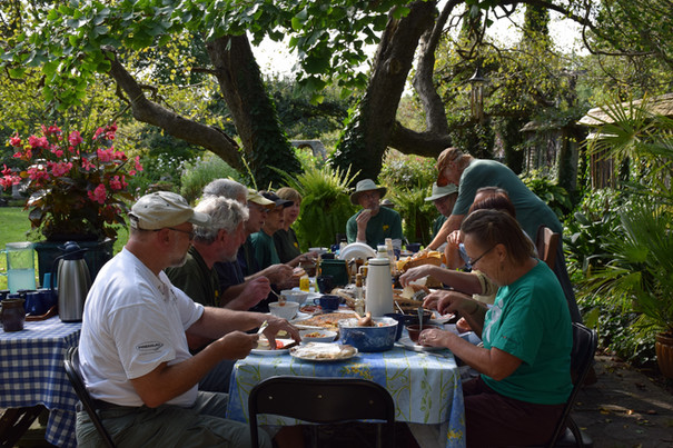 Volunteers at lunch