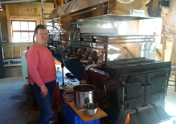 Donna operating the evaporator