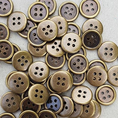 6 un botón Bronce 12.5mm