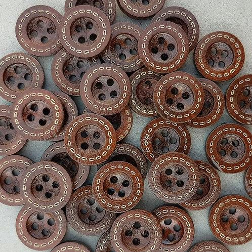 6 un botón Madera Oscura Diseño 15mm