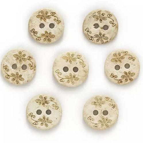 6 un botón de madera flores 13mm