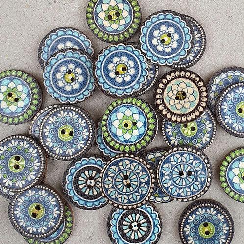 6 un botón de madera diseño Marruecos Azul 20mm