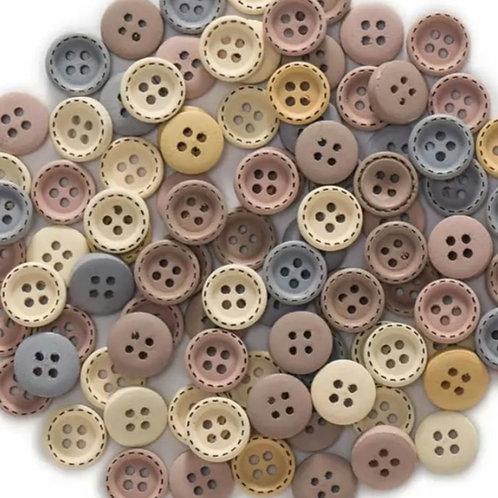 6 un botón de madera mix de colores 12mm
