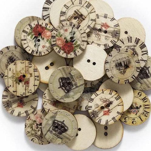 6 un botón de madera diseño reloj 25mm