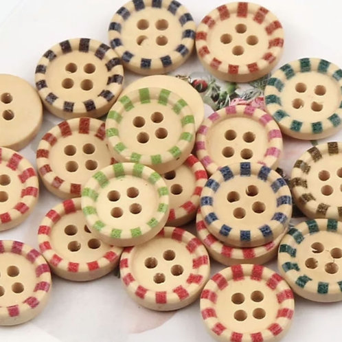6 un botón madera diseños retro 15mm