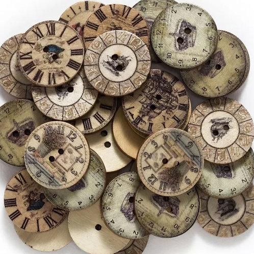 6 un botón de madera diseño navegación 25mm