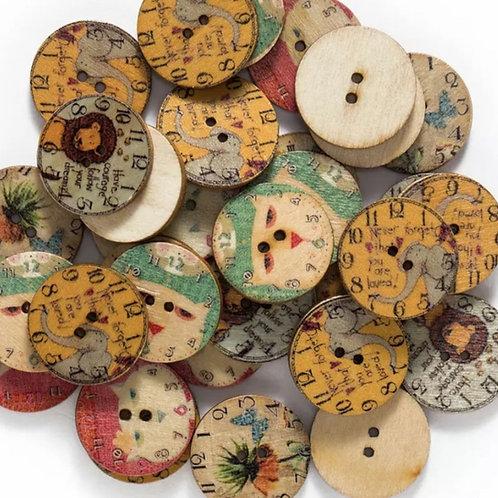 6 un botón de madera diseño animales 25mm