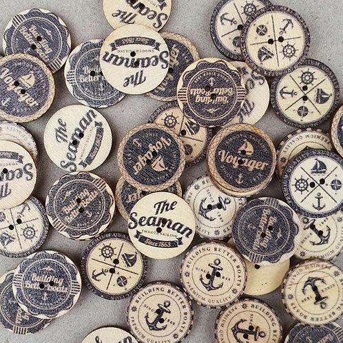 6 un botón de madera diseño Marinero 20mm